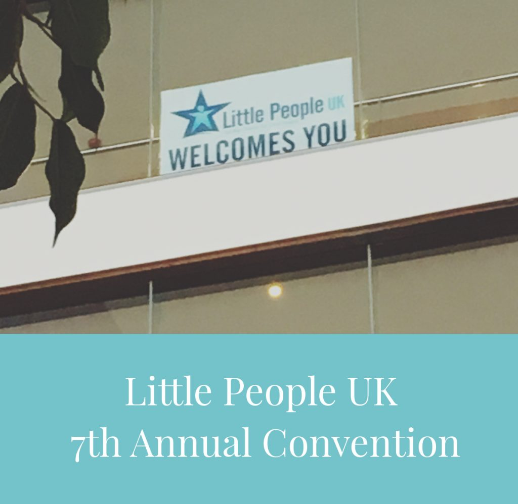Little People UK 2018 - 7th Annual Convention - sign in foyer saying LPUK Welcomes You