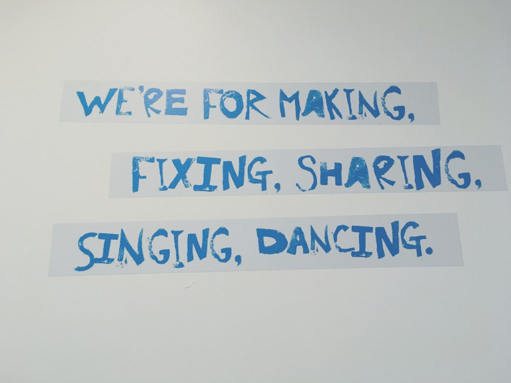 UNION19 at Kids Kabin in Walker, Newcastle - inspiring wall art - We are for making, fixing, sharing, singing and dancing.