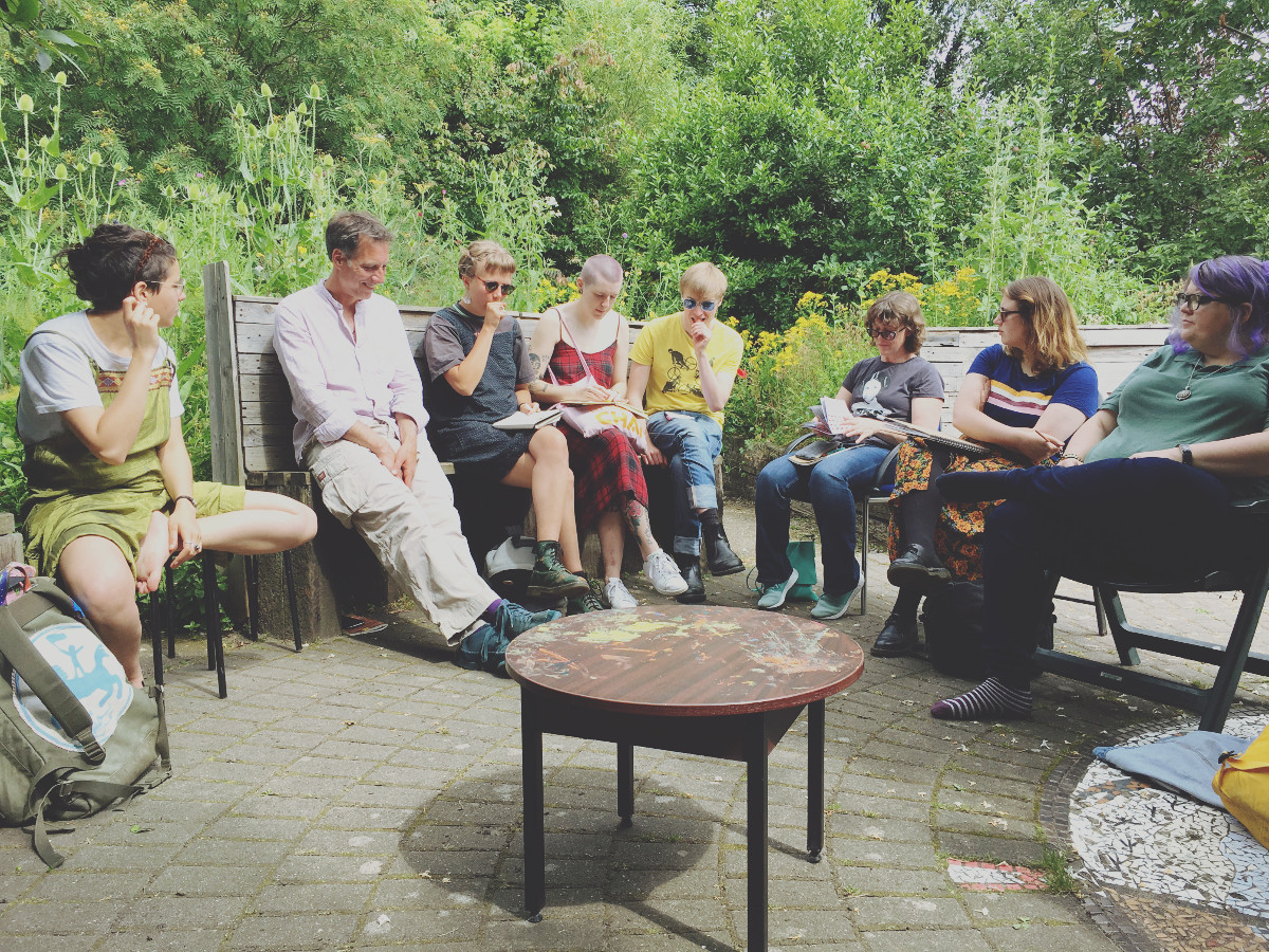 UNION19 Manchester weekend - Members sat around in a circle in Hulme Garden Centre