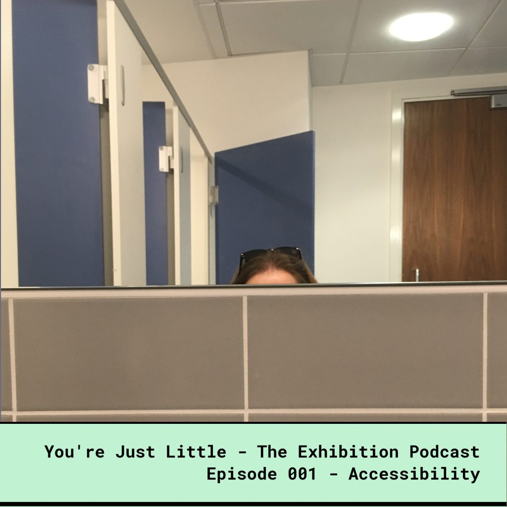 You're Just Little - The Exhibition Podcast - Episode 001 - Accessibility, talking about how the daily difficulties dwarf people face. Photo shows the top half of my forehead with my sunglasses perched on the top. I'm staring directly at tap and the basin is waist height.
